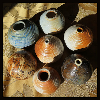 Textured soda fired pottery by Lily L.
