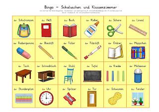DaZ-Bingo Schulsachen