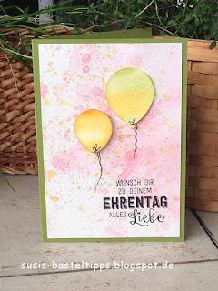 Geburtagskarte mit Luftballons, hergestellt mit Stampin' Up! Produkten, Karte von unabhängiger Stampin' Up! Demonstratorin in Coburg