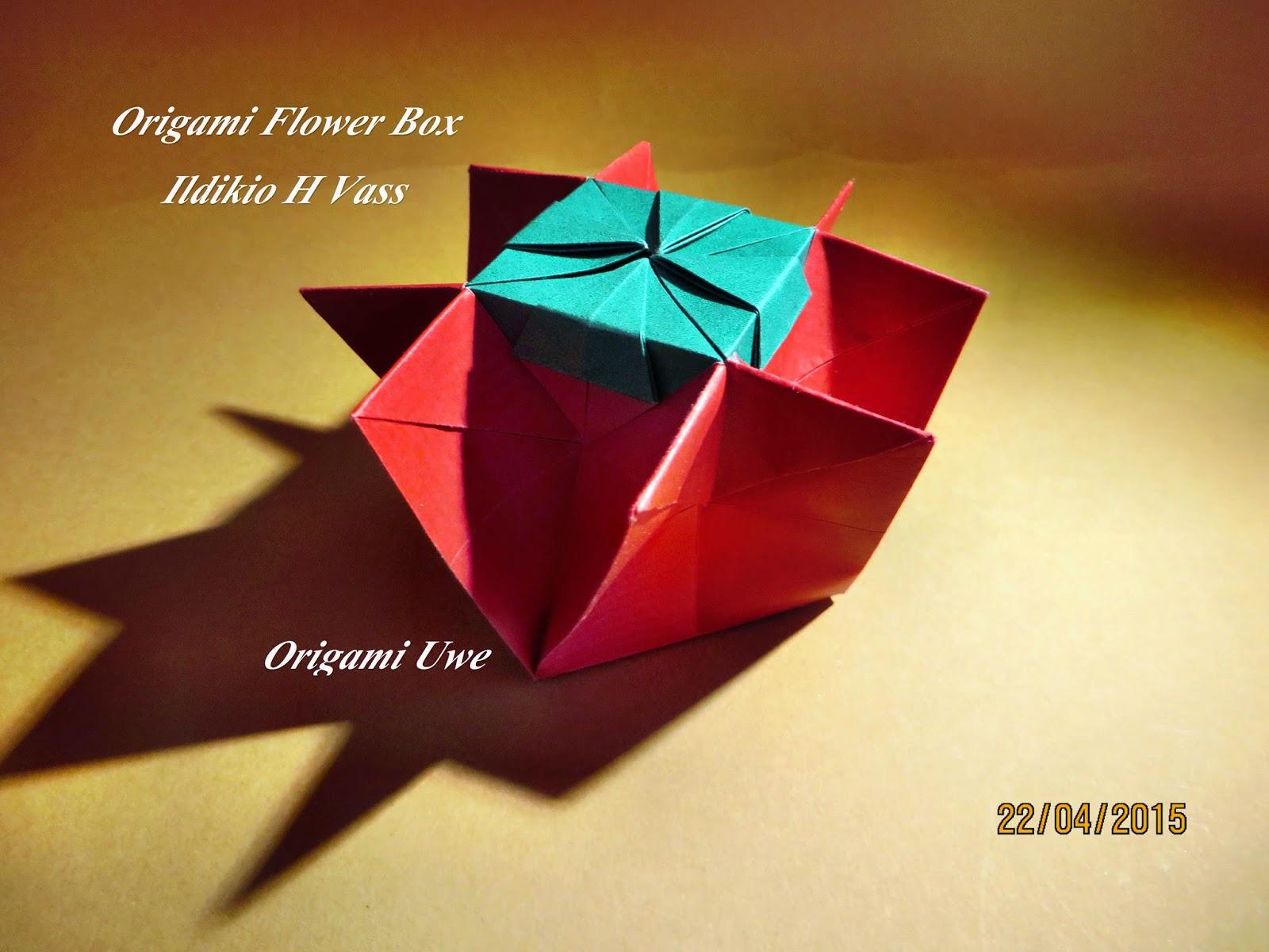 Origami, Fleurogami und Sterne: Origami Flower Box - photo#15