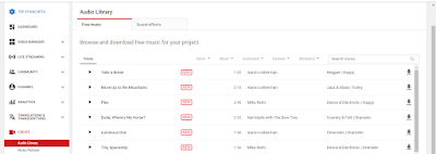 youtube audio library daftar musik gratis