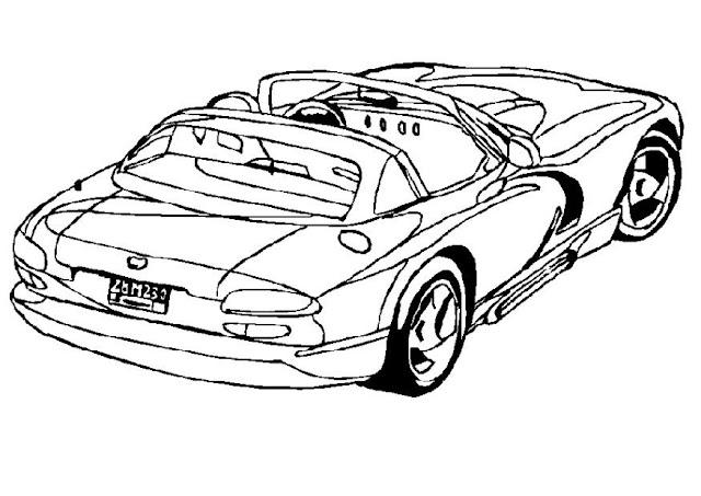 dibujo de coche cabrio para colorear