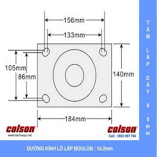 Bảng vẽ kích thước tấm lắp bánh xe đẩy PU công nghiệp chịu tải cao 1,035kg| 7-10679-959 :