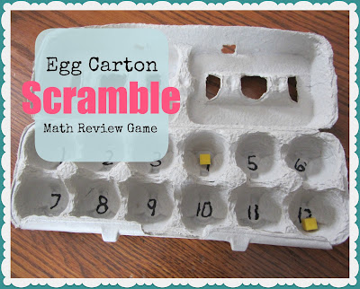 Egg Carton Scramble: Math Review Game www.theunlikelyhomeschool.com