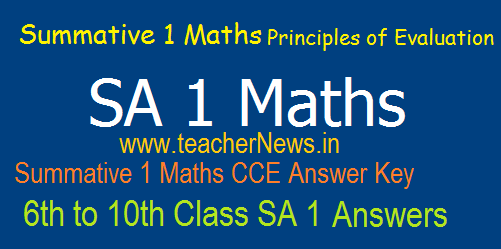 SA 1 Maths Answers/ Key Sheet 6th, 7th, 8th, 9th, 10th Class Summative 1 Principles of Evaluation