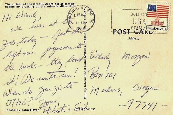 Uibles: A Family Blog: 1984 Roberta's postcard to Wendy -Apr 11