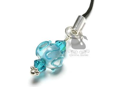 Blue Swirl Crystal Lampwork Bead Zipper Pull Charm (CPC014)