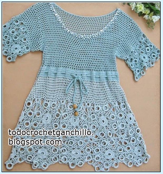 Patrones de vestido calado al crochet