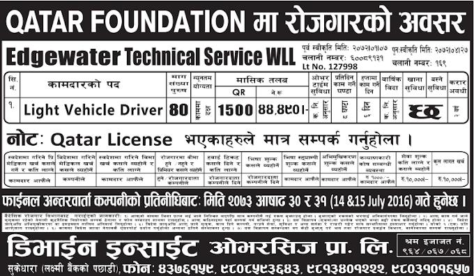 Jobs For Nepali In Qatar Foundation, Qatar Salary -Rs.44,000/