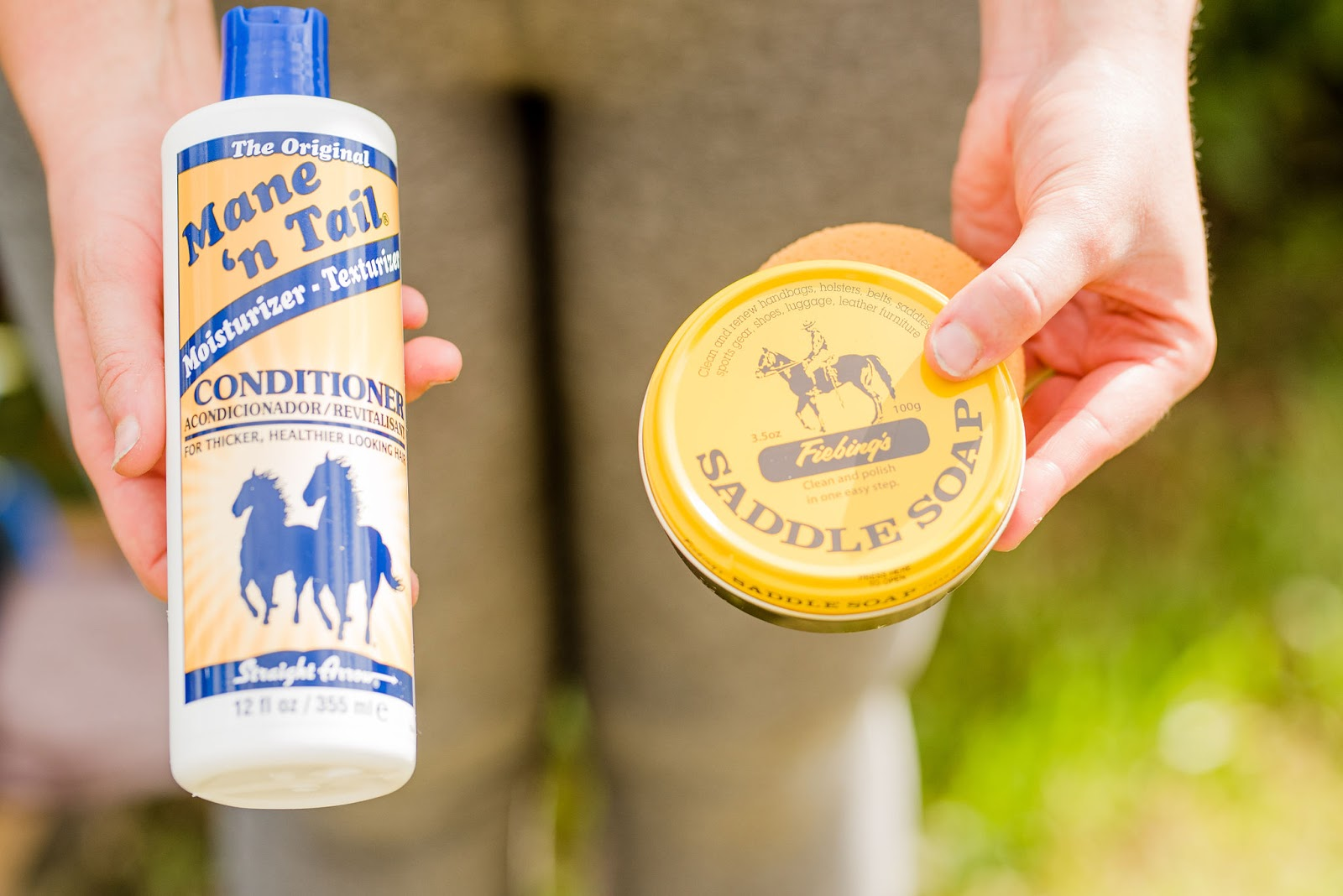 Saddlebox horse subscription box Mane 'N Tail conditioner and Fiebing's Saddle Soap