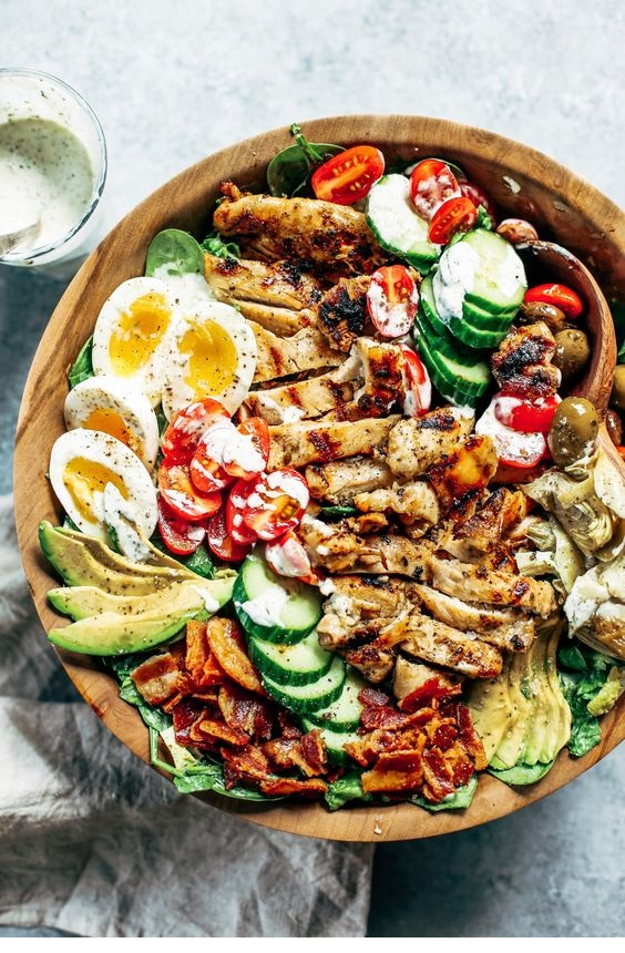 Paleo Grilled Chicken Caesar Cobb Salad
