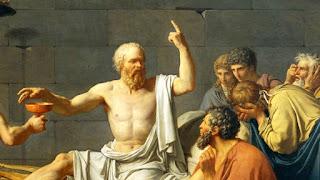 """Détail de la peinture """"La mort de Socrate"""" peint par David"""
