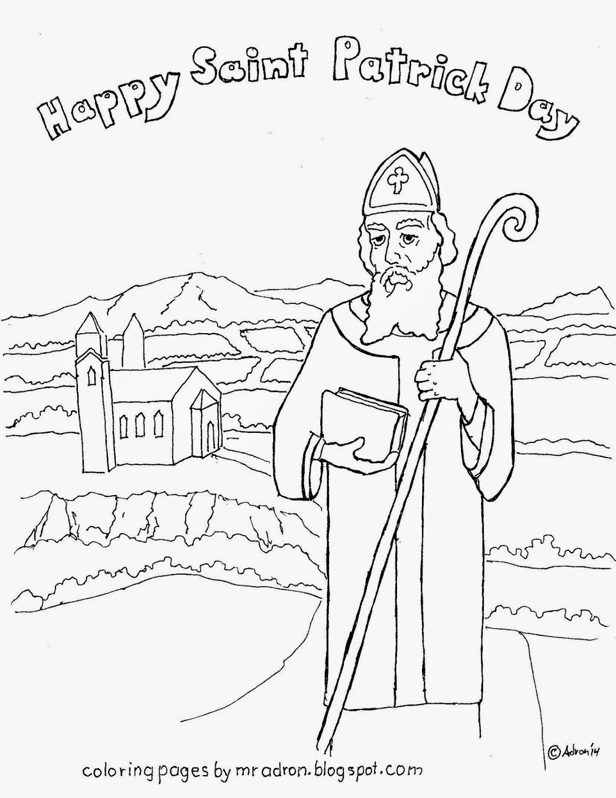 An illustration of St Patrick to print and color.