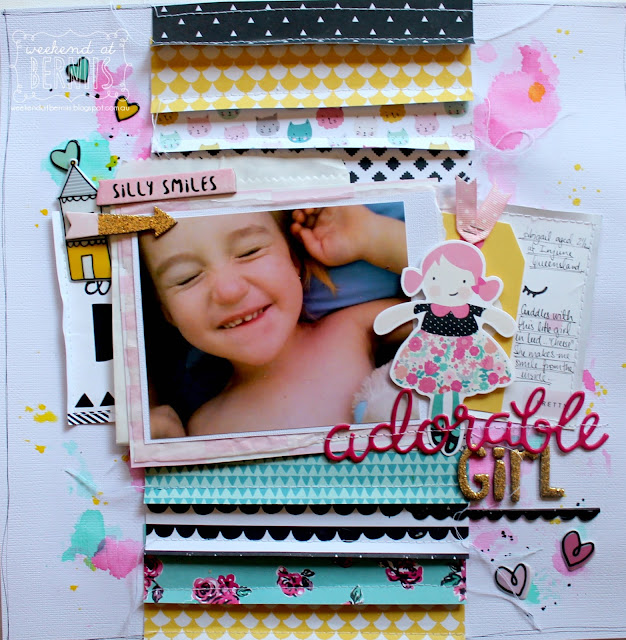 """Adorable Girl"" layout by Bernii Miller for ScrappingClearly using the Cute Girl collection from Crate Paper."