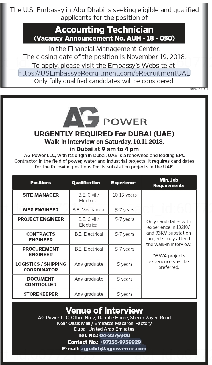 AG Power Required Engineers, office staff For Dubai (UAE) Interview
