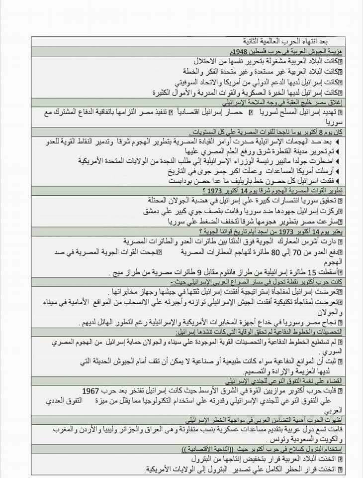 توقعات امتحان التاريخ للصف الثالث الثانوي.. لا يخلو منها الامتحان 12