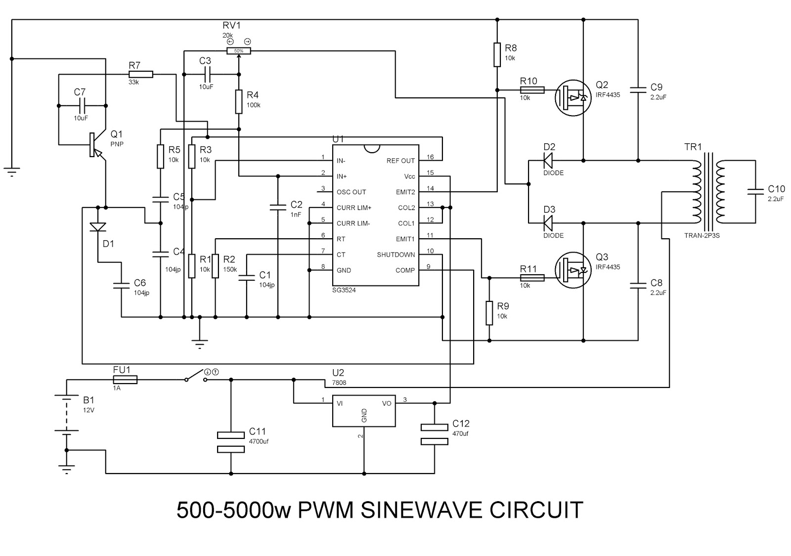 Sinewave Inverter Circuit SG3524(PWM)
