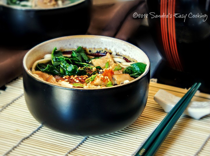 Simple recipe for Japanese Udon noodles with Shiitake mushrooms & Greens in Broth