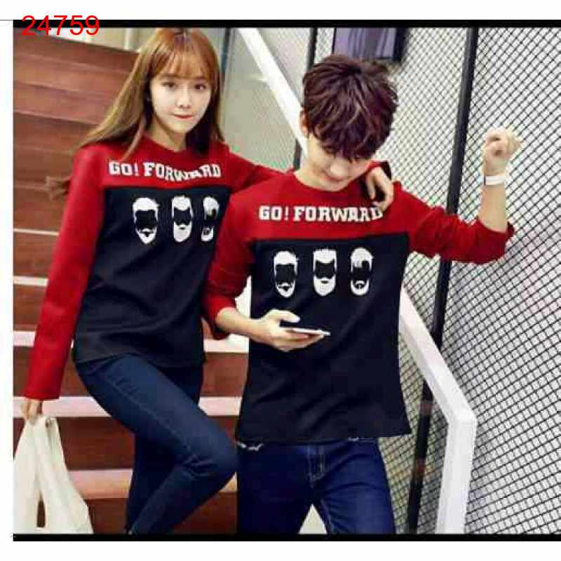 Jual Sweater Couple Sweater Go Forward Red Black - 24759