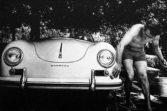 James Dean Washing His 1955 Porsche 356 Super Speedster In