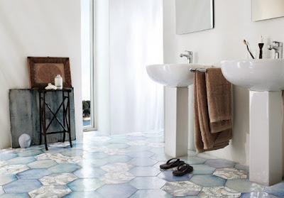 hexagonal flooring tiles designs for modern bathrooms