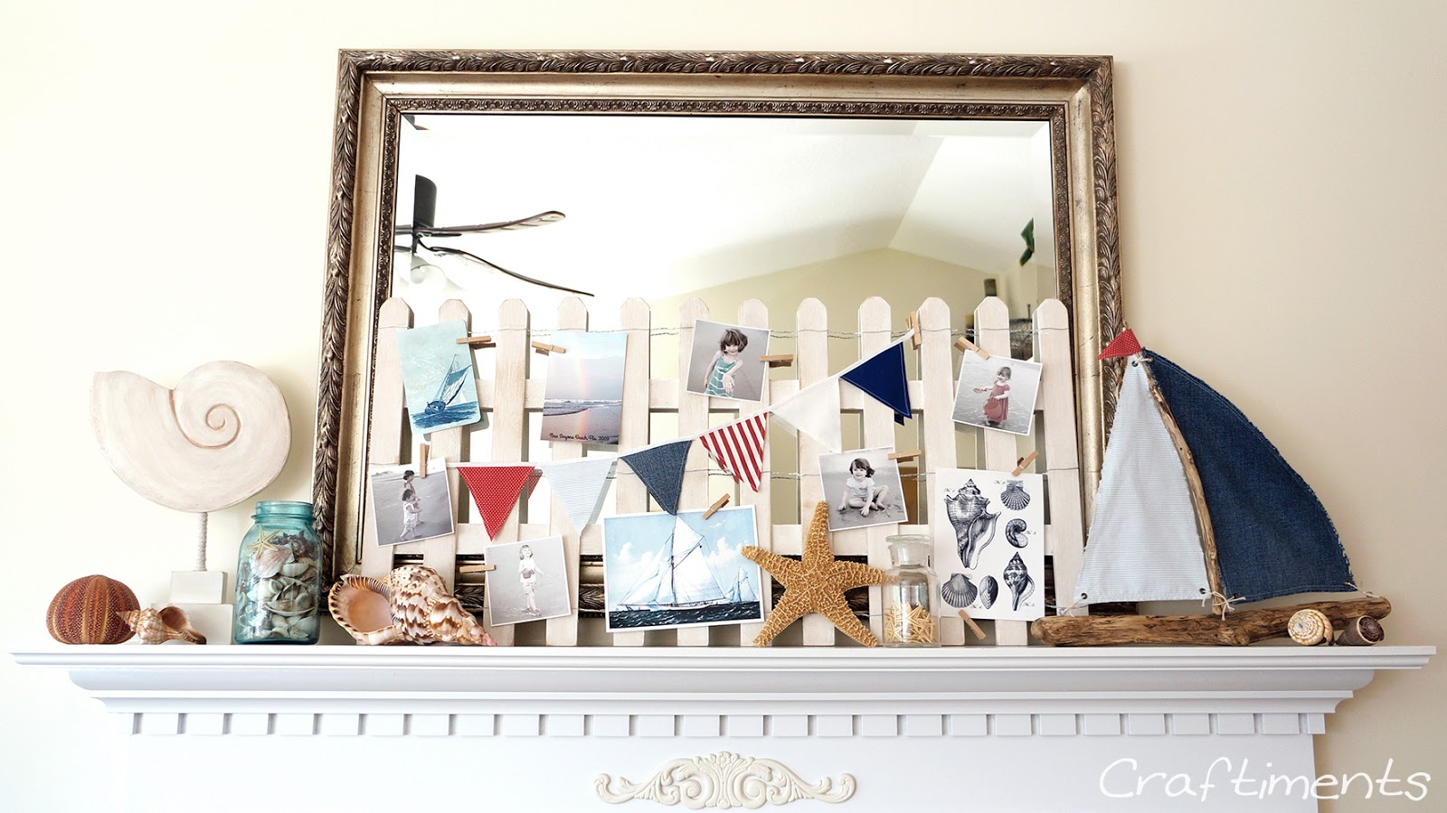 Craftiments:  Beach Fence Summer Mantel