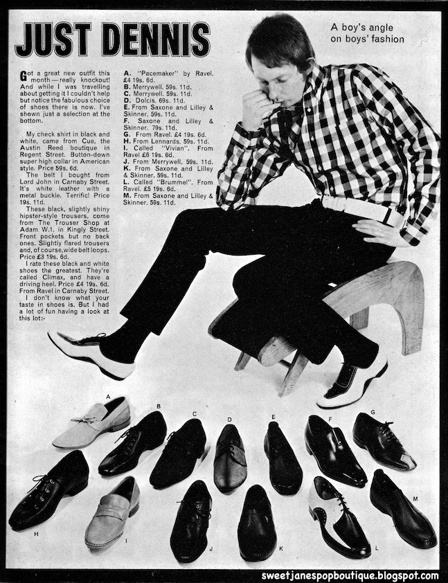 Sweet Jane Blog, 1960s Men's shoes,1960s Mod Shoes, Rave Magazine, 1960s Style, Just Dennis,
