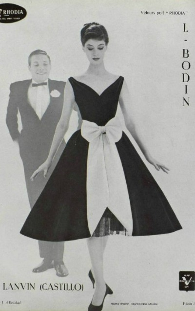 Lanvin Castillo 1957 Ad for Rhodia Cocktail Dress