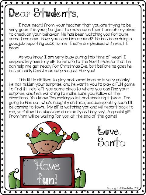 Elf Christmas Scavenger Hunt Game: Letter to Santa