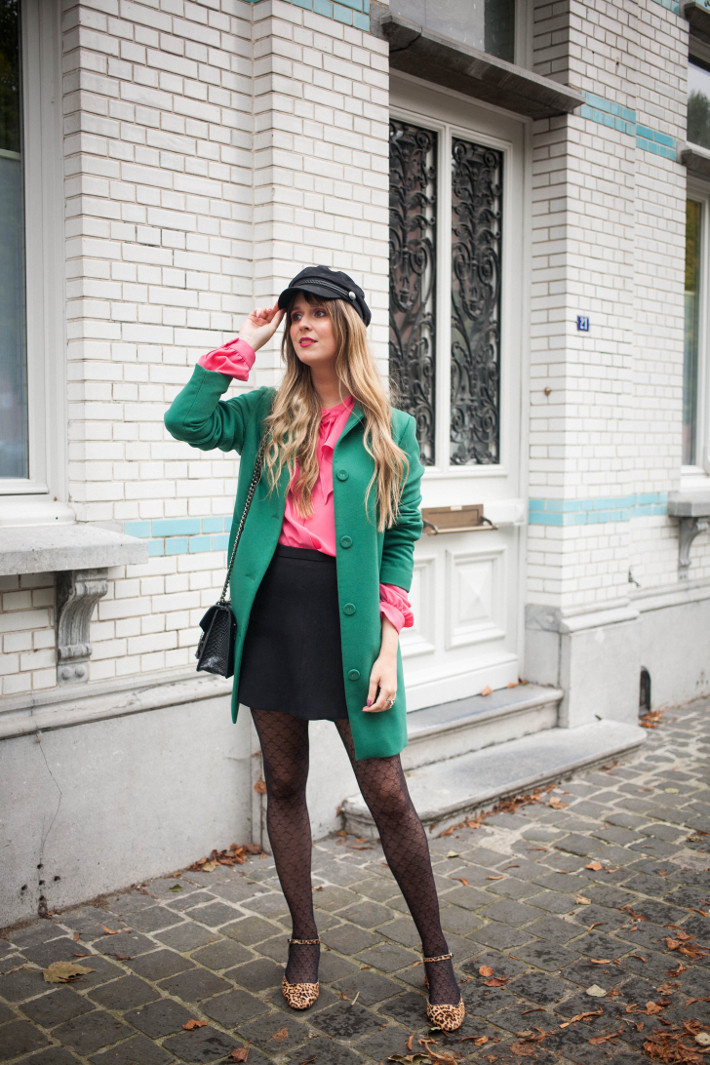 Outfit: pink ruffle blouse, green coat and leopard mary janes