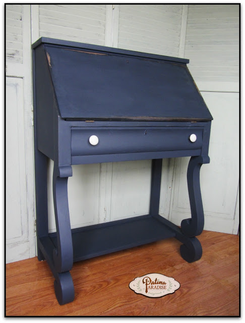 refinished empire desk, blue furniture, painting furniture blue, blue furniture inspiration