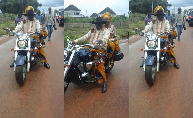 Commissioner rides sportbike with his wife during Delta @ 25 Anniversary celebration in Asaba