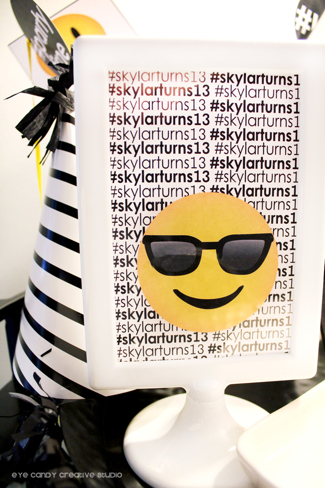 shades emoji, emoji party sign, 13 birthday party fun, emoji party decor