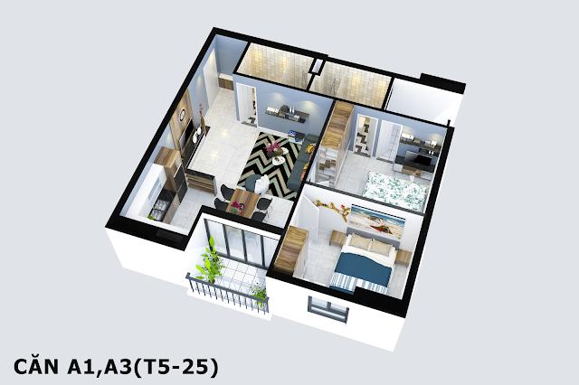 Thiết kế căn A1 A3 Tabudec Plaza
