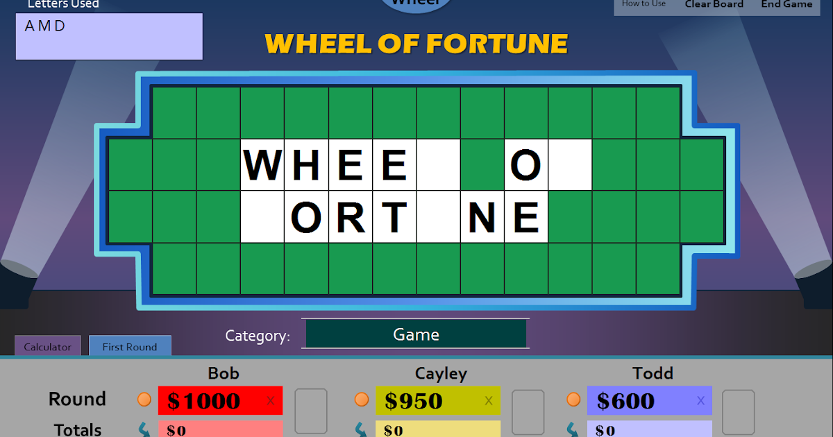 Tim's Slideshow Games: Wheel of Fortune for PowerPoint - More Info