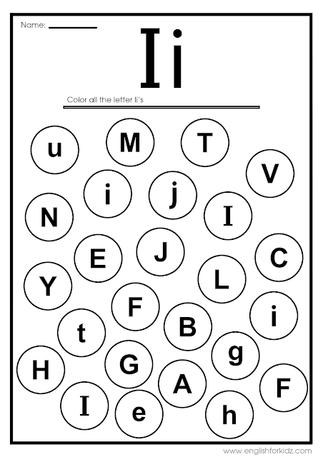 Find letter i worksheet -- printable ESL materials to teach English alphabet