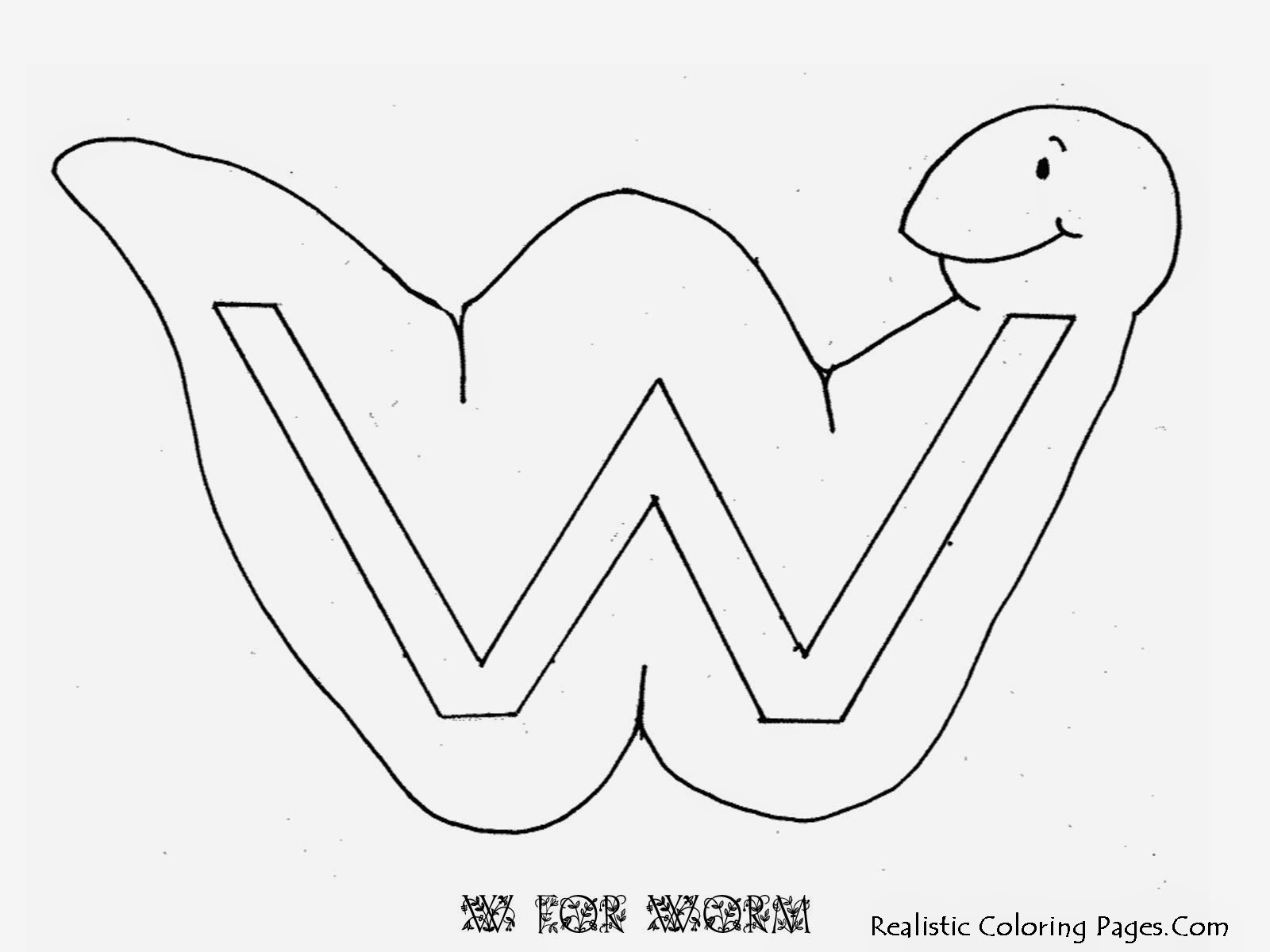 Alphabet Coloring Pages W WORM