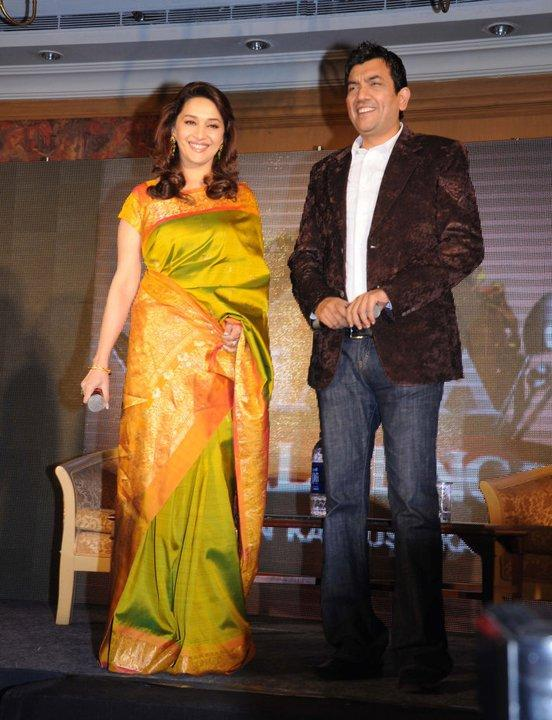 Indian Actress Hot Women Madhuri Dixit Green Designer Saree