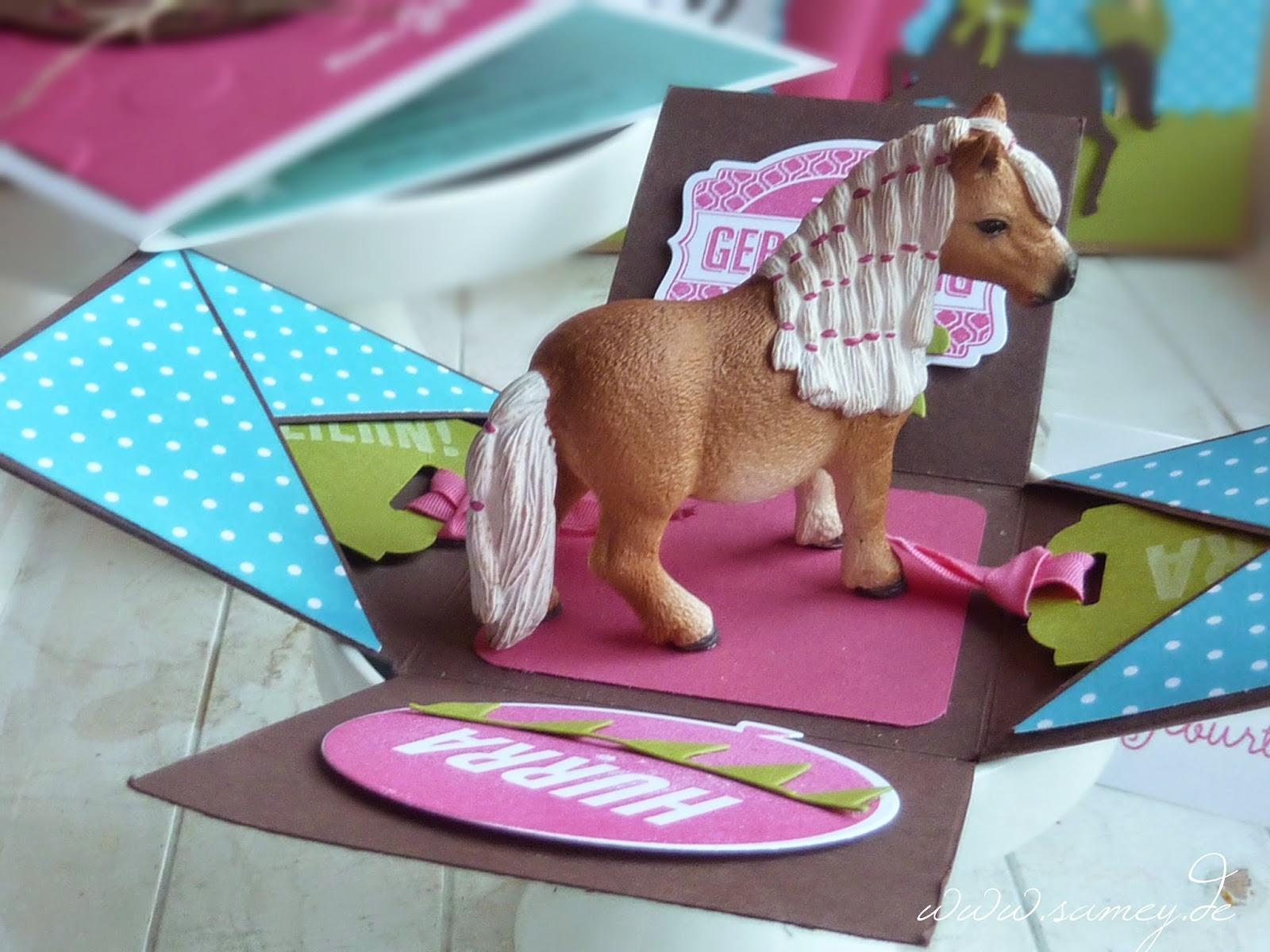 samey atelier farbstil zum kindergeburtstag motto pony explosionsbox geburtstagskarte. Black Bedroom Furniture Sets. Home Design Ideas
