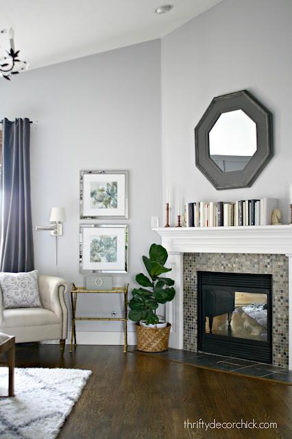 Whitestone light gray with fireplace