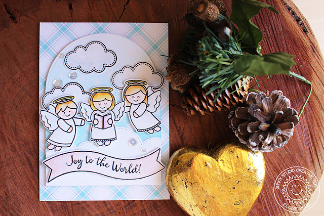 Sunny Studio Stamps: Little Angels Joy To The World Christmas Card by Eloise Blue.