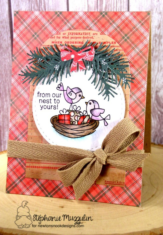 From Our Nest to Yours Card by Stephanie Muzzulin | Holiday Tweets Stamp set by Newton's Nook Designs #newtonsnook