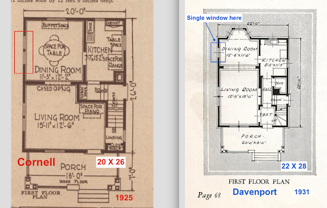 Sears Cornell vs Sears Davenport catalog images first floor plan