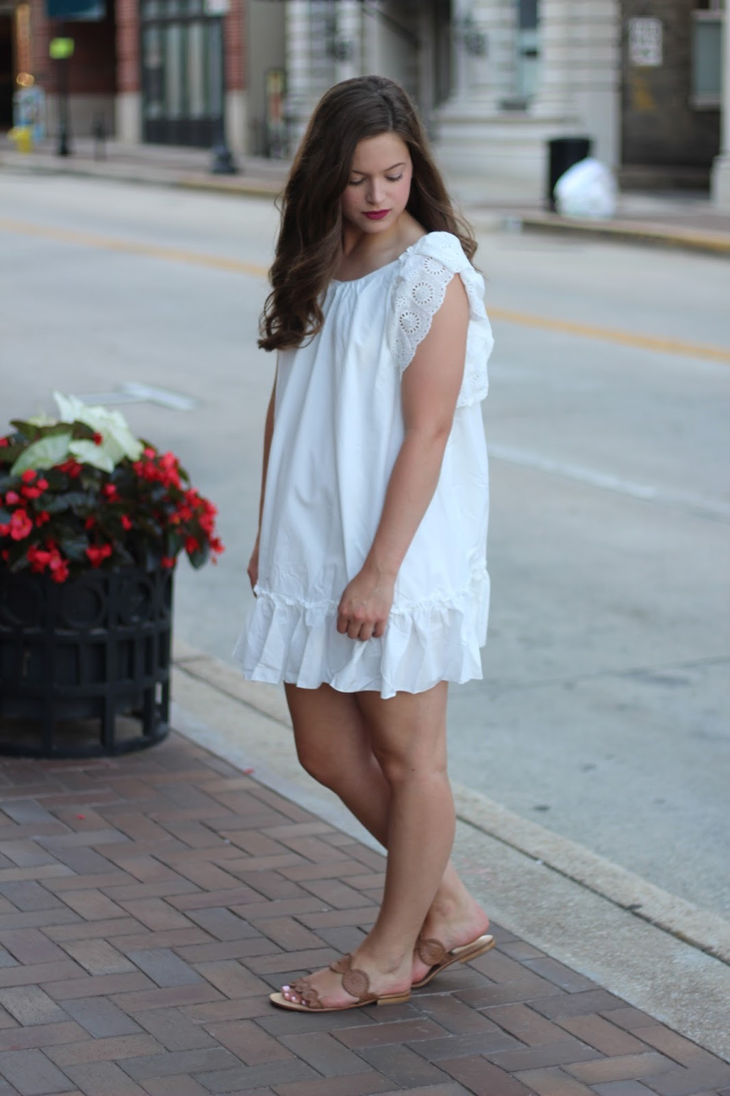 shein white babydoll dress pink bow jack rogers lauren sandals