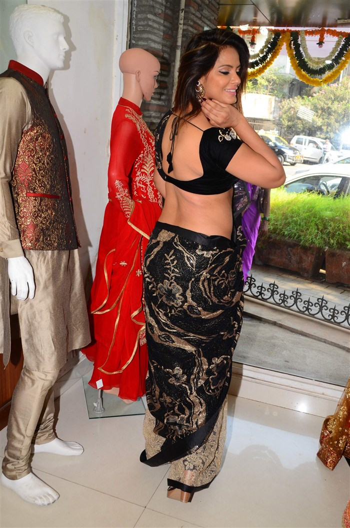 Neetu Chandra in Black Saree at Designer Sandhya Singh Store Launch Mumbai