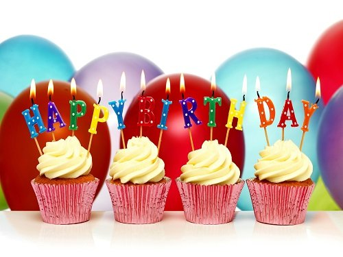 Happy Birthday Wallpaper with Cupcake