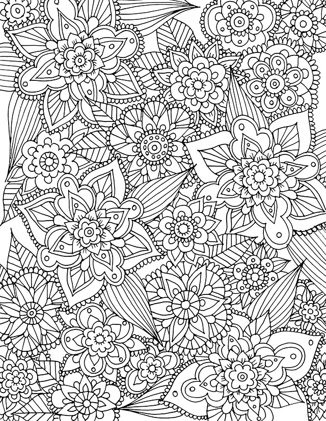 intricate flowers free coloring page