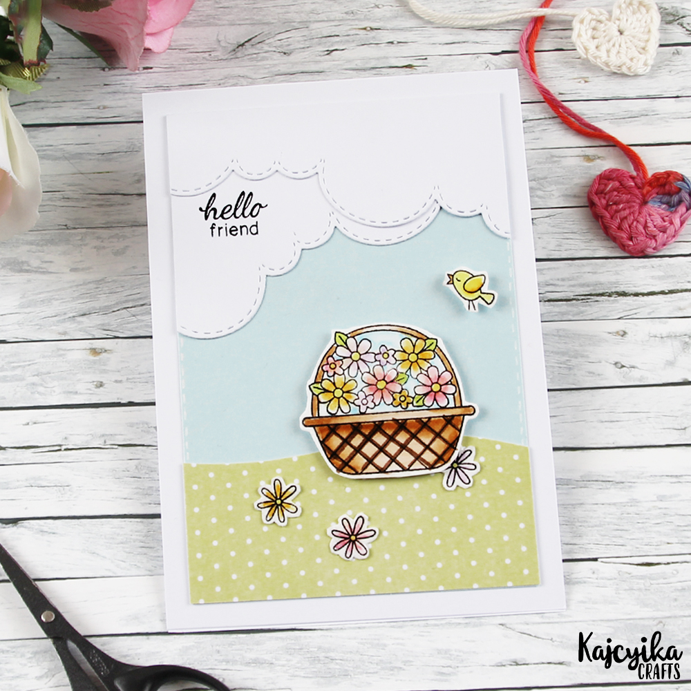 Hello Friend Card by April Guest Designer Kaja Vezenšek | Basket of Wishes stamp set & Sky Borders die set by Newton's Nook Designs #newtonsnook
