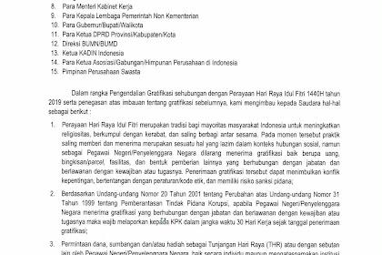 SURAT IMBAUAN LEBARAN 2019 - IMBAUAN PENCEGAHAN GRATIFIKASI TERKAIT HARI RAYA KEAGAMAAN