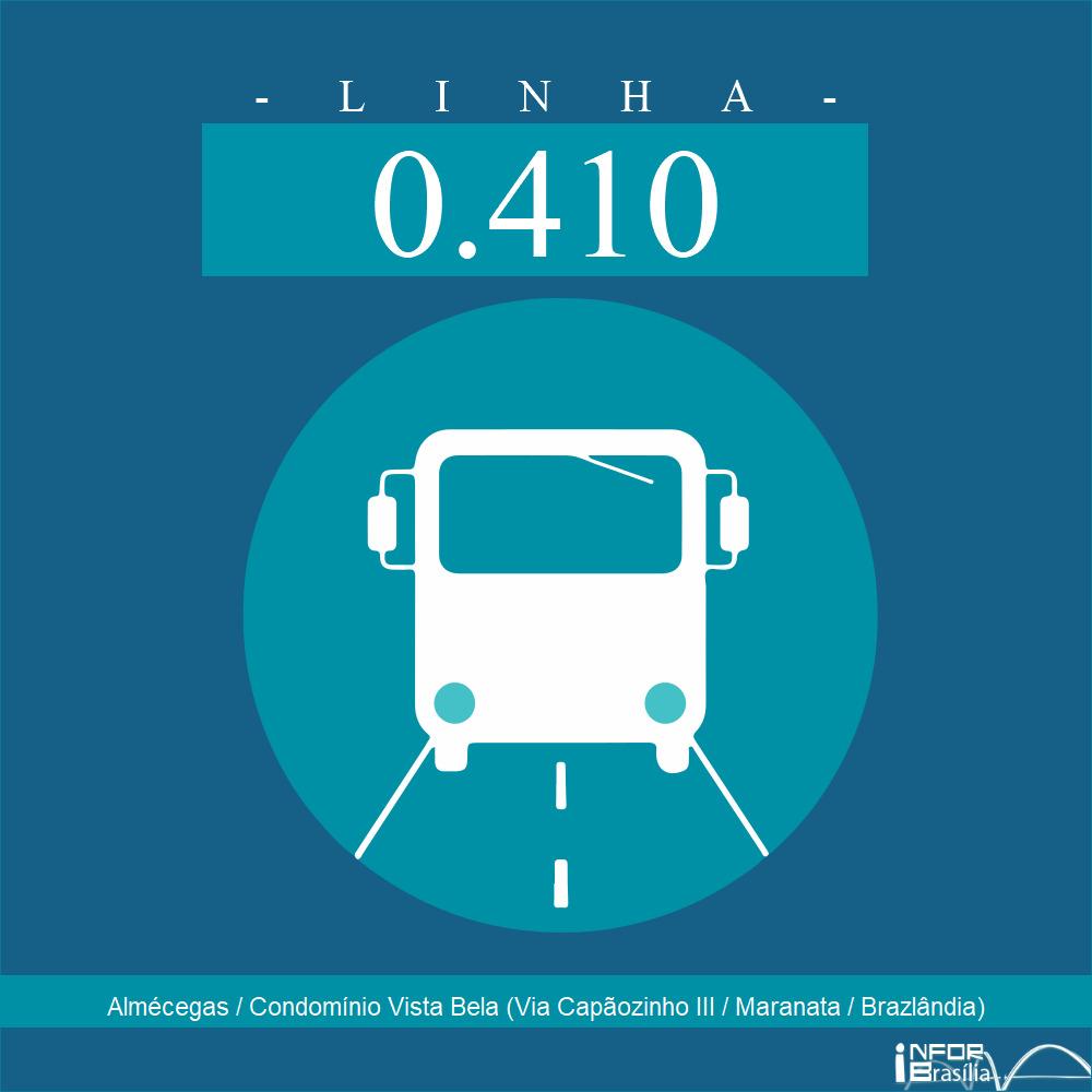 Horário de ônibus e itinerário 0.410 - Almécegas / Condomínio Vista Bela (Via Capãozinho III / Maranata / Brazlândia)